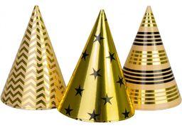 Набір з 6 ковпаків на голову із гумовою стрічкою Gold&Silver фольговані, висота 15,24 см, асорті MX200005 (1)