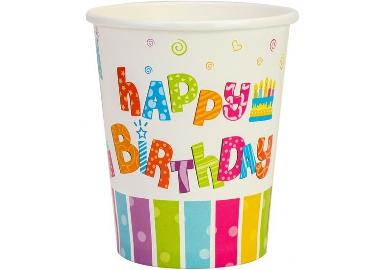 Набор из 6 стаканов бумажных Happy Birthday, 270 мл MX440100 (1)