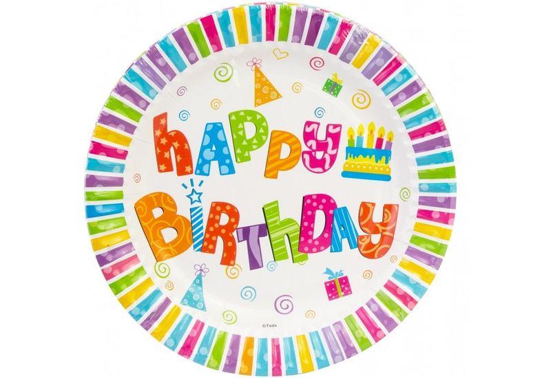 Набор тарелок бумажных Happy Birthday, диаметр 17,78 см MX443100 (1)