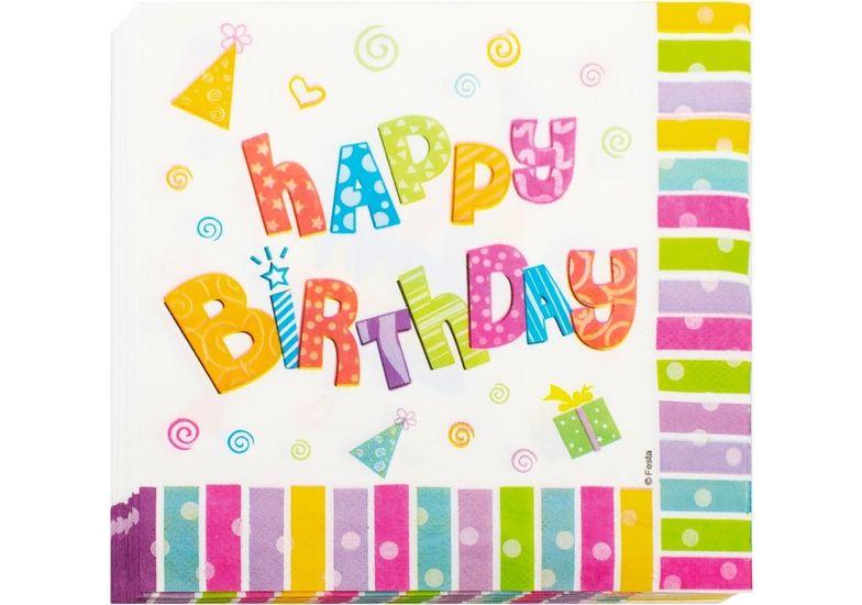 Набор из 20 двухслойных салфеток Happy Birthday 33х33 см MX446100 (1)