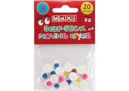 Рухливі оченята для декорування на клейкій основі кольорові, діаметр 10 мм, 20 шт. MX61722 (1)