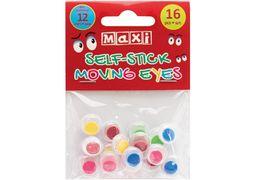 Рухливі оченята для декорування на клейкій основі кольорові, діаметр 12 мм, 16 шт. MX61723 (1)