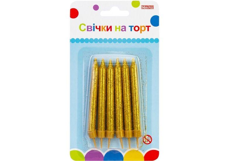Набор: 6 свечей на торт с блестками, 7 см; 6 подставок для свечей MX620211C (1)