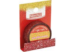 Стрічка декоративна з блискітками червона 15мм*3м MX62041 (1)