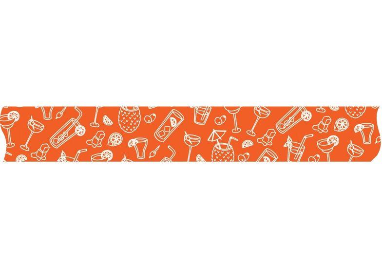 Лента декоративная с печатью  Коктейли, ширина 24 мм, длина 5 м MX62113 (1)