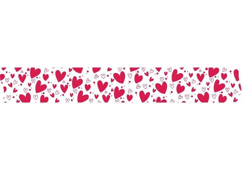 Лента декоративная с печатью  Сердца, ширина 24 мм, длина 5 м MX62125 (1)