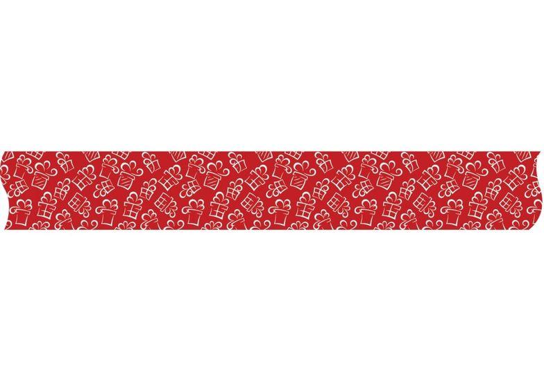 Лента декоративная с печатью Подарки, ширина 24 мм, длина 5 м MX62137 (1)