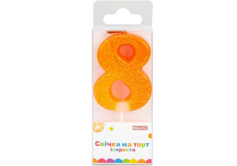 Свеча 8 с блестками искрящаяся, 4,5 см, на торт MX622081-8 (1)
