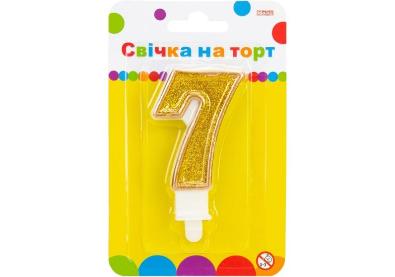 Свеча золотистая двусторонняя с блестками 7, 7,62 см, на торт MX622083-7 (1)