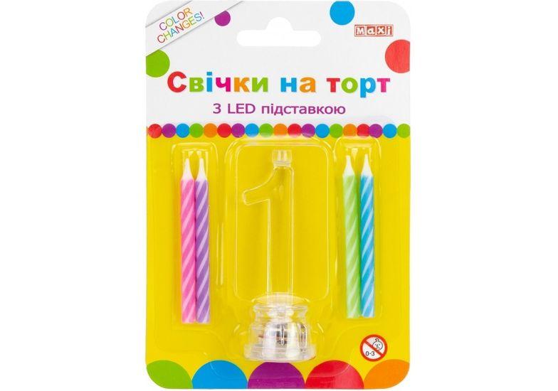Набор: 4 свечи на торт с LED подставкой светящейся 1 MX701007-1 (1)