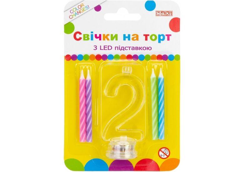 Набор: 4 свечи на торт с LED подставкой светящейся 2 MX701007-2 (1)