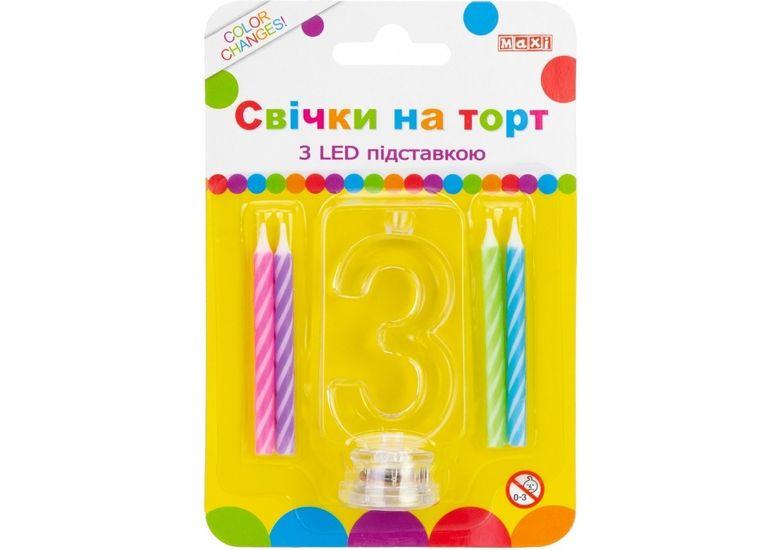 Набор: 4 свечи на торт с LED подставкой светящейся 3 MX701007-3 (1)