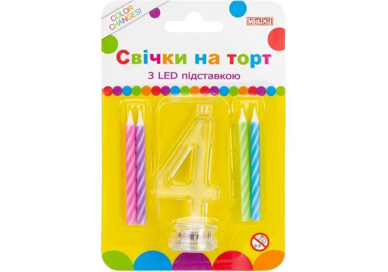 Набор: 4 свечи на торт с LED подставкой светящейся 4 MX701007-4 (1)