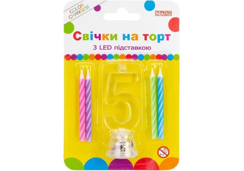 Набор: 4 свечи на торт с LED подставкой светящейся 5 MX701007-5 (1)