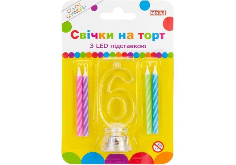 Набор: 4 свечи на торт с LED подставкой светящейся 6 MX701007-6 (1)