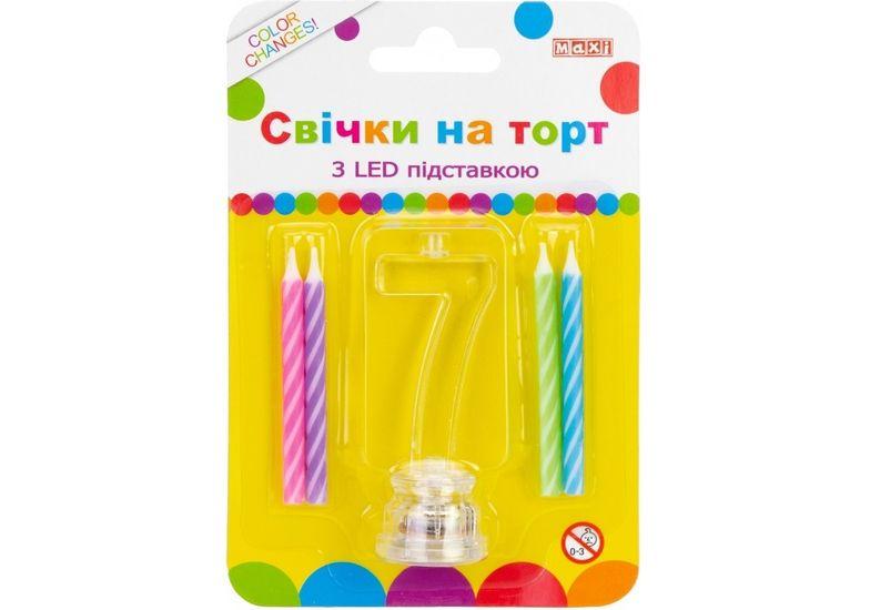 Набор: 4 свечи на торт с LED подставкой светящейся 7 MX701007-7 (1)