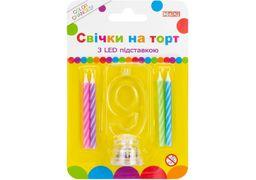 Набір: 4 свічки на торт з LED підставкою 9, що світиться MX701007-9 (1)