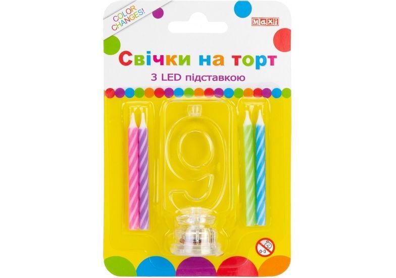 Набор: 4 свечи на торт с LED подставкой светящейся 9 MX701007-9 (1)