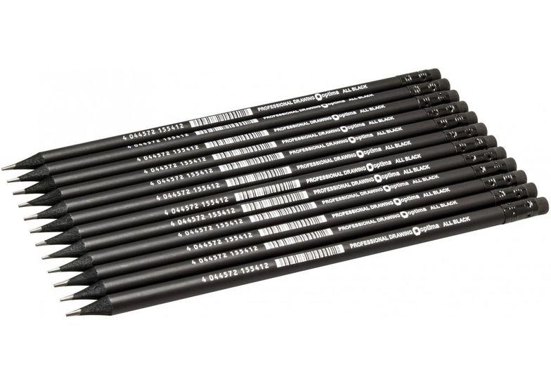 Карандаш чернографитный Optima All BLACK HB корпус черный, заточенный, с резинкой O15541 (12)
