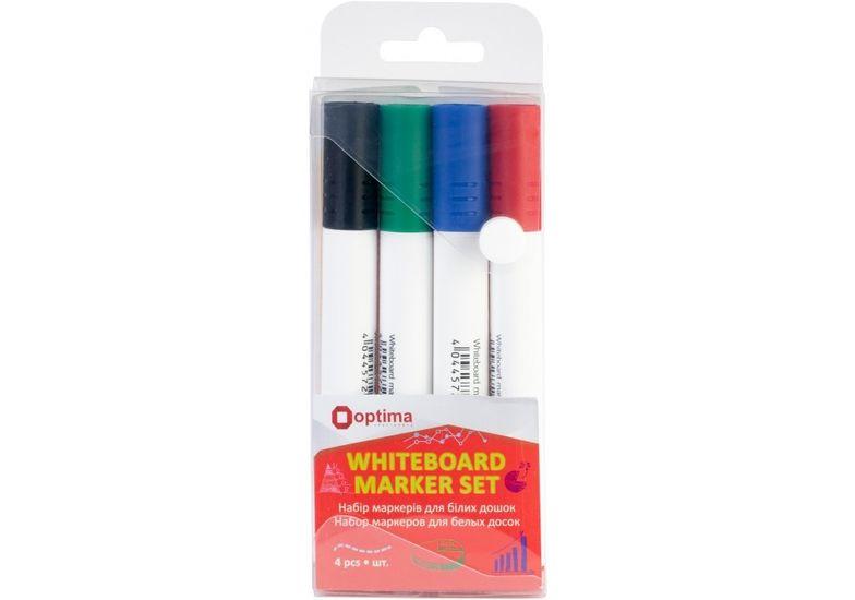 Набор маркеров для белых досок Optima 2 мм, 4 цвета в пенале O16212 (1)