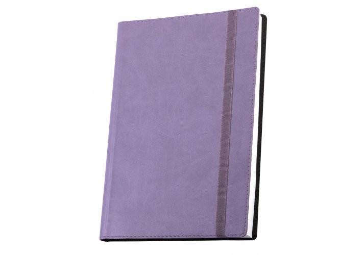 Деловая записная книжка VIVELLA, А6, мягкая обложка, резинка, белый блок линия, сиреневый O20384-12 (1)