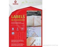 Етикетки самоклеючі, білі, А4, 100 арк/пач, на аркуші 21шт. O25112 (1)