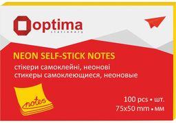 Стікери Optima, 75х50, жовті неон , 100 арк. O25512-05 (12)