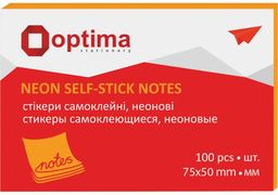 Стікери Optima, 75х50, помаранчеві неон, 100 арк. O25512-06 (12)