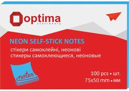 Стікери Optima, 75х50, синій неон, 100 арк. O25512-11 (12)