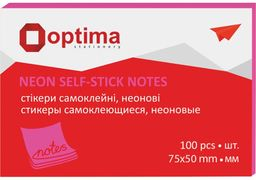 Стікери Optima, 75х50, малинові неон, 100 арк. O25512-47 (12)