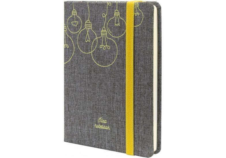 Деловая записная книжка IDEA, А6, твердая обложка текстиль, резинка, кремовый блок линия O27192-04 (1)