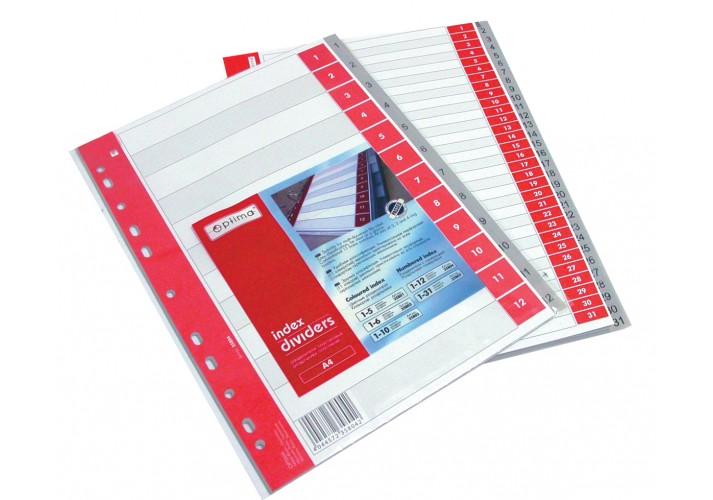 Роздільник аркушів А4 Optima, пластик, 12 розділів, цифровий O35804 (1)
