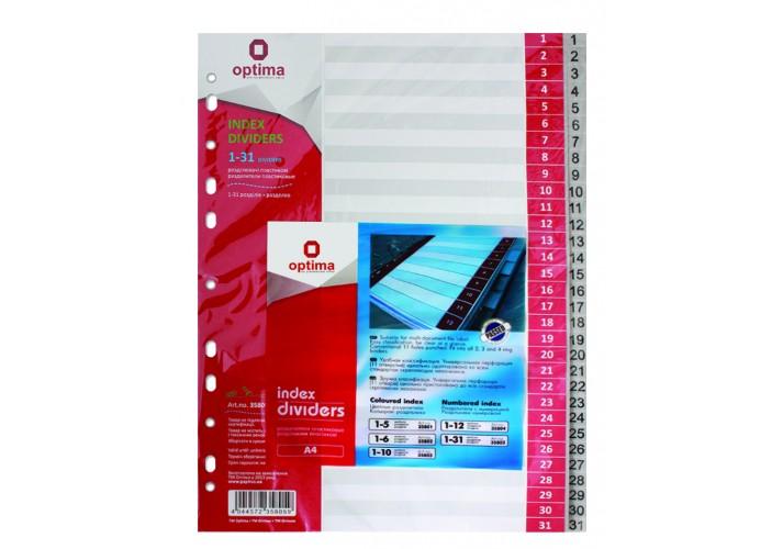 Роздільник аркушів А4 Optima, пластик, 31 розділ, цифровий O35805 (1)