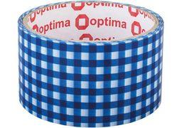 Стрічка клейка пакувальна 48 мм х 20 м Optima, Tartan синя O45362 (1)