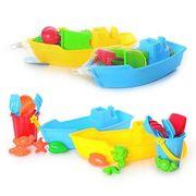 Набор для песочницы, лодка, ведро, лопата 2  шт, сито, грабли, формочки 4 шт, в сетке