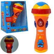 Микрофон интерактивный, обучающий, музыка, свет, на батарейке, в коробке 19,5-15-9 см