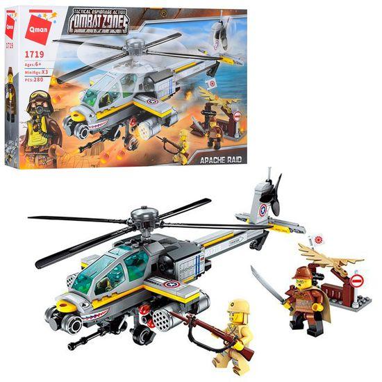 Конструктор Qman, военный, вертолет, фигурки, 280 дет, в коробке 31,5-19-5 см