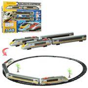 Железная дорога, локомотив 23 см, 1:87, вагон 2 шт., 26 дет., звук, свет, едет, на батарейке, в коро