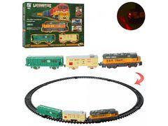 Железная дорога 79-79 см, локомотив 17 см, вагон 2 шт, звук, свет, на батарейке, в коробке 38-26,5-5