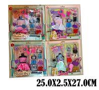 Одежда для кукол, 4 вида, платье, сумочки, обувь, аксессуары, в коробке 27*25*1,5 см