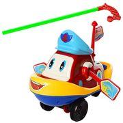Каталка катер, 22 см, на палке, двигает глазками, веслами, звук, в кульке 23-15-9 см