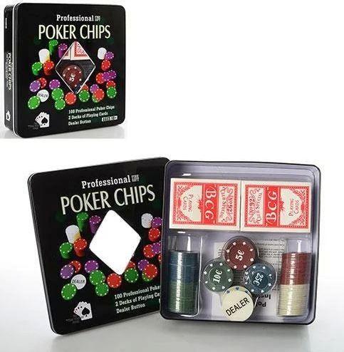 Настольная игра покер, фишки, карты - 2 колоды, в металлической коробке 20-20-5 см