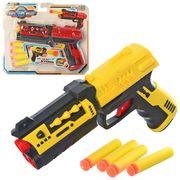 Пистолет, 19 см, мягкие пули 4 шт, 2 цвета, на листе 25-21-4 см