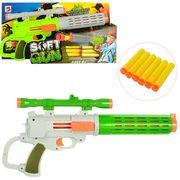 Пистолет 41 см, мягкие пули-присоски 6 шт., 2 цвета, в коробке 42-22,5-6 см