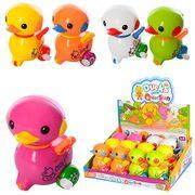 Заводная игрушка утка, 9 см, ездит, двигает головой, 12 шт. (5 цветов) в дисплее 27-20-10 см, ЦЕНА З