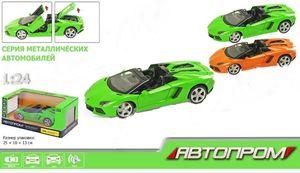 Машина металлическия АВТОПРОМ, 1:24 Lamborghini, 2 цвета, на батарейке, свет, звук, открываются дв