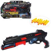 Пистолет 45 см, звук (англ., стрельбы), свет, мягкие пули-присоски 10 шт., на батарейке, в слюде 54-
