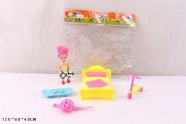Кукла маленькая, кроватка, скейтборд, самокат, в пакете 12*9*5 см