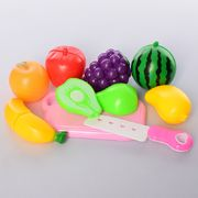 Продукты на липучке, фрукты 7 шт, досточка, нож, в кульке 19-24-5 см