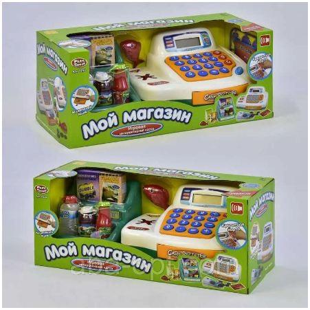 Кассовый аппарат, на батарейке, с продуктами, корзинкой, размер игрушки - 23*15*12 см, в коробке